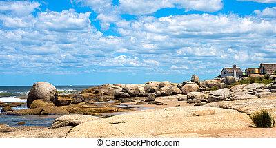 punta, 観光客, ウルグアイ, 浜, del, diablo, 人気が高い, 場所