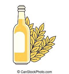 punta, bianco, bottiglia, fondo, birra