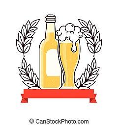 punta, bianco, decorazione, bottiglia, nastro, vetro, fondo, birra