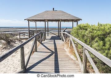 Punta Candor beach, Rota, Cadiz, Spain. Fishing weir, fish...