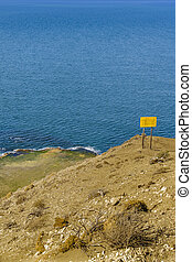 Coast of atlantic ocean from Punta del Marquez, a touristic viewpoint located in Chubut, Argentina