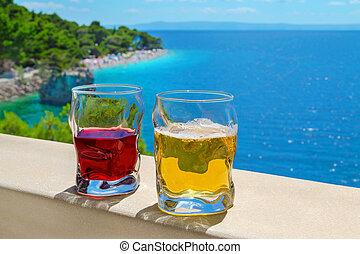 punta, dos, brela, rata, vista, playa, croacia, bebidas