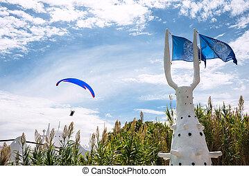 punta, este, ウルグアイ, 上に, paraglider, 海岸, 大西洋, del