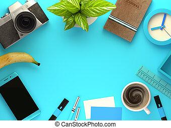 punta la vista, de, oficina, trabajando, espacio, en, azul