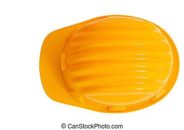 punta la vista, de, seguridad, construcción, protección, casco, aislado, fondo blanco