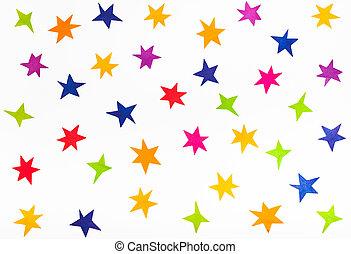 punta la vista, de, vario, estrellas, recortar, de, papel del color