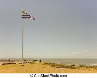 punta, uruguayan, este, 海岸, 旗, del