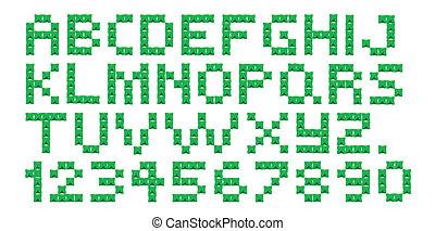 puntada, alfabeto, cruz, números