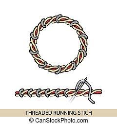 puntadas, stitches., costura, bordado, hilo, costura, ...
