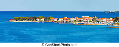 puntamiika, península, de, zadar, aéreo, panorama
