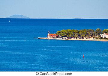 Puntamika lighthouse of Zadar aerial view, Dalmatia, Croatia