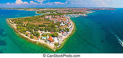 puntamika, péninsule, de, zadar, aérien, vue panoramique