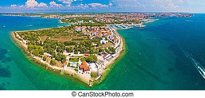 Puntamika peninsula of Zadar aerial panoramic view