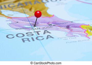 Puntarenas pinned on America map - Photo of pinned...