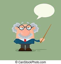 puntatore, professore, carattere, o, scienziato, discorso, presa a terra, bolla, cartone animato
