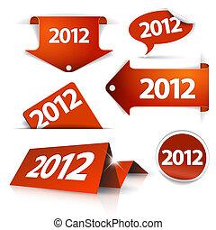 puntatori, etichette, etichette, vettore, adesivi, 2012