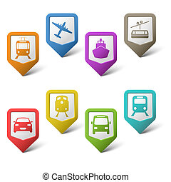 puntatori, set, colorito, trasporto