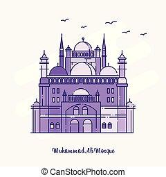 punteado, ali, púrpura, mezquita, muhammad, ilustración,...