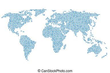 punteado, azul, mapa del mundo, blanco, fondo., vector