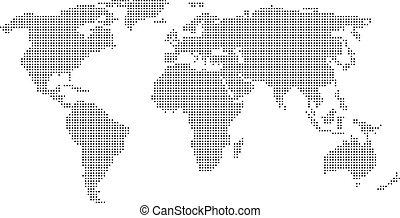 punteado, mapa del mundo