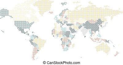 punteado, mapa del mundo, de, cuadrado, puntos