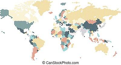 punteado, mapa del mundo, de, hexagonal, puntos