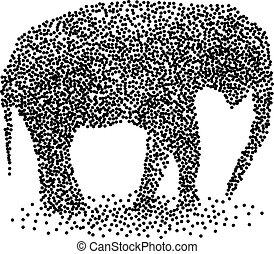punteggiato, vitello, elefante