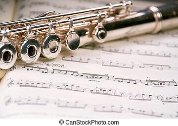 punteggio, attraverso, flauto, musicale