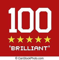 punteggio, brillante, 100