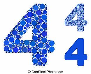punten, cijfer, cirkel, 4, mozaïek, pictogram
