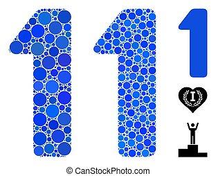 punten, cirkel, pictogram, mozaïek, cijfer, 1