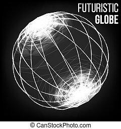 punten, debrises., illustration., punt, vliegen, connection., partikels, gloeiend, vector, blured, moleculair, technologie, style., futuristisch