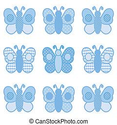 punten, gingham, vlinder, polka