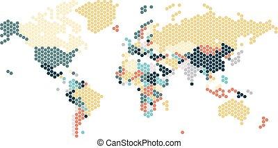 punten, kaart, zeshoekig, dotted, wereld