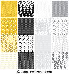punten, lijnen, seamless, cirkels, patterns:, geometrisch, golven