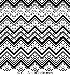 punten, model, op, lijnen, seamless, zig, zwarte achtergrond, zag, witte