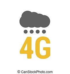 punten, plat, signaal, 4g, logo, wolk