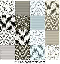 punten, seamless, cirkels, chevron, patterns:, geometrisch, golven, strepen