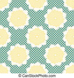 punten, stijl, bloem, 1950s, pattern., polka, seamless, llustration, vector, retro, getrokken, kantachtig, madeliefjes