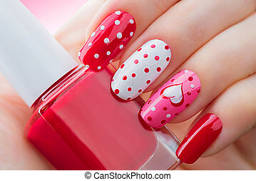 punten, stijl, geverfde, valentines, polka, helder, manicure, hartjes, vakantie, dag