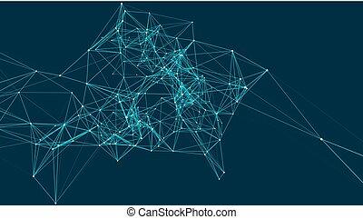 punten, structure., render, abstract, space., aansluitingen, verbinding, lines., het verbinden, achtergrond, 3d