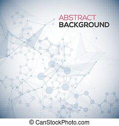 punten, structure., wetenschap, abstract, lines., poly, polygonal, achtergrond., verbinding, vector, het verbinden, laag, achtergrond, medisch