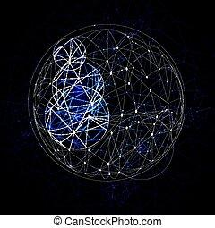 punti, 1804, astratto, poly, sfera, connettere, basso