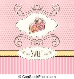 punti, acquarello, illustration., dolce, polka, zebrato, mano, splashes., vettore, invito, torta, disegnato, template., scheda, design.