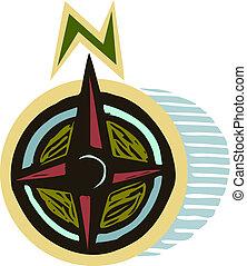 punti, cardinale, illustrazione