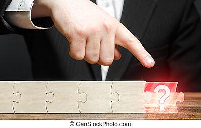 punti, chain., completo, abbastanza, non, assenza, element., componente, puzzle, project., dito, amministrazione, uomo affari, mancante, o, rischi