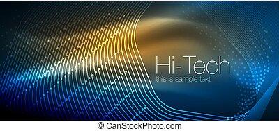 punti, ciao-tecnologia, neon, forme, fondo, techno, ...