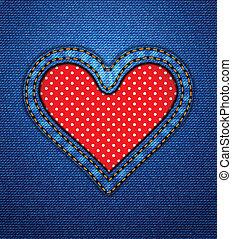 punti, cuore, cornice, polka, jeans