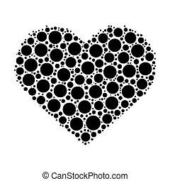 punti, cuore, mosaico