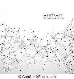 punti, dati, medico, web, network., plesso, astratto, atomo, molecola, connection., illustrazione, polygonal, fondo., vettore, node., digitale, complessità, geometrico, particelle, concept., struttura